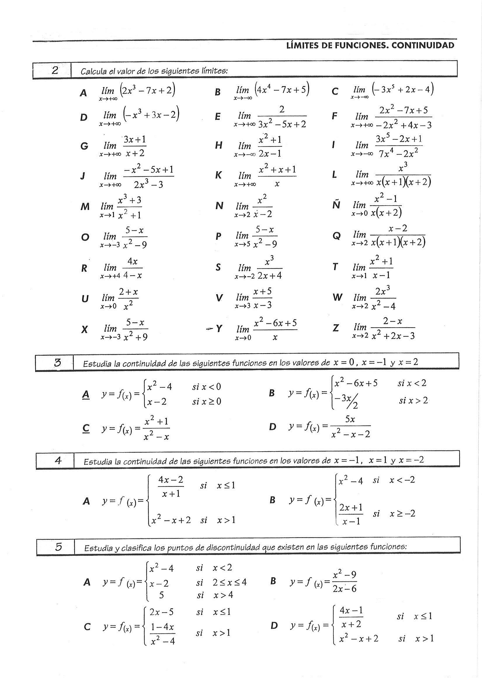 Ejercicios y examenes de matematicas - Math exercises and tests
